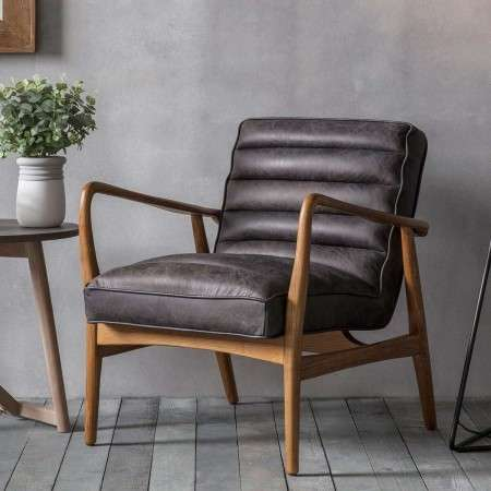 Dayton Ebony Leather Armchair