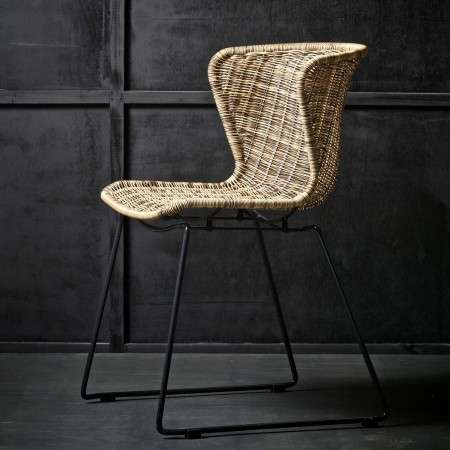 Woood Weaved Winged Back Chairs (Set of 2)