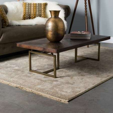 Dutchbone Class Coffee Table in a Herringbone & Brass Finish