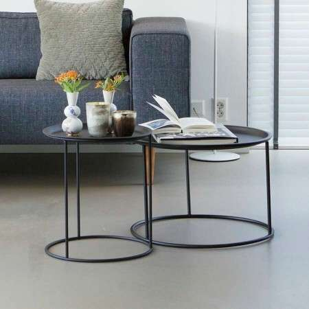 Woood Ivar Black Metal Side Table with Tray