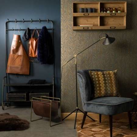 Dutchbone Lucius Iron Coat Rack with Shelf & Storage