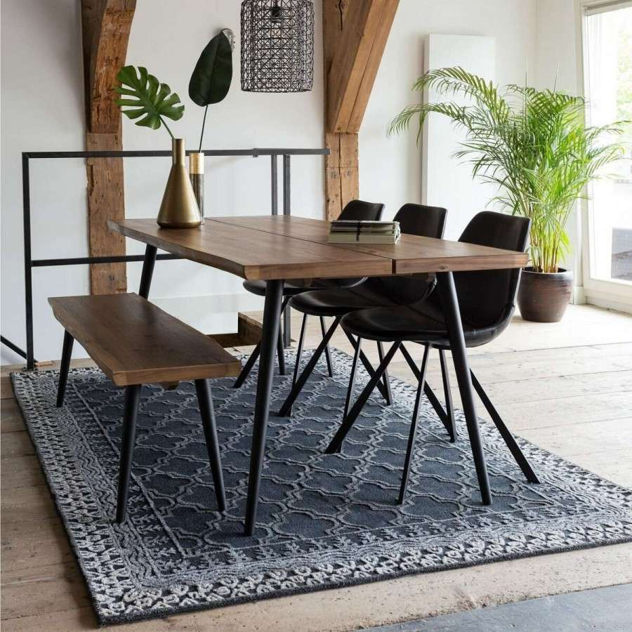 Dutchbone Alagon Wooden Dining Table With Iron Frame Acc For The Home Amazing Accessories For Dining Room