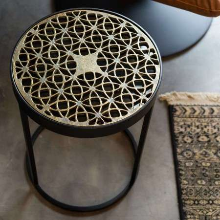 Dutchbone Sari Brass Top Side Table
