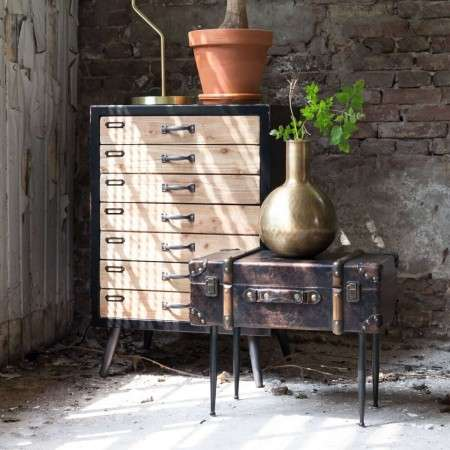 Dutchbone Luggage Side Table with a Vintage Look