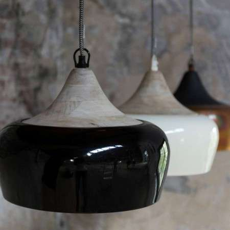Dutchbone Coco Pendant Lights Copper, Ivory & Glossy Black