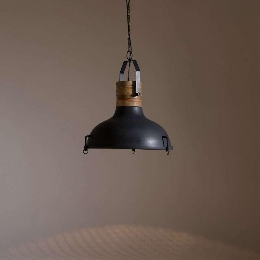 Dutchbone Raw Black Iron Amp Mango Wood Pendant Light Acc