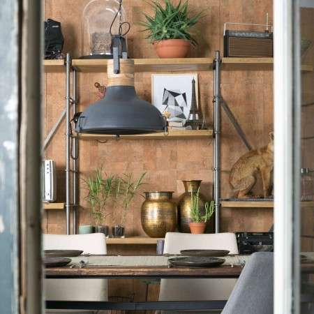 Dutchbone Raw Iron and Wood Pendant Light