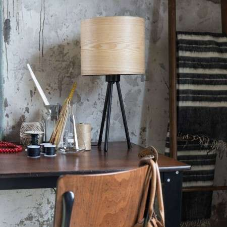 Dutchbone Woodland Table Lamp with Ash Wood Veneered Shade