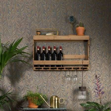 Dutchbone Tres Solid Wood Wall Shelf & Bottle Rack