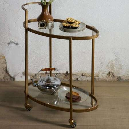 BePureHome Antique Brass Drinks Trolley