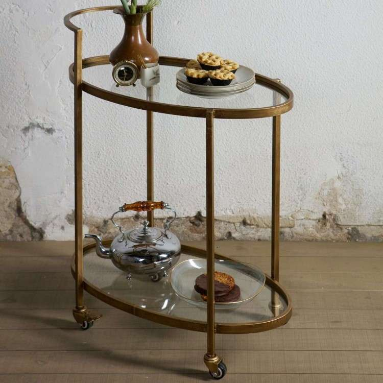 BePureHome Antique Brass Drinks Trolley from Accessories for the Home