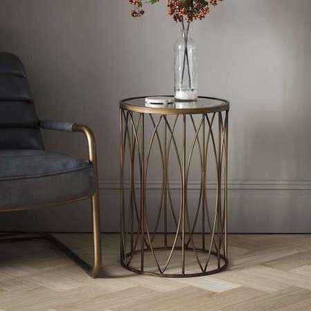 Halle Brass and Glass Side Table