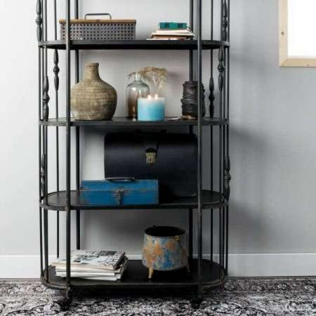 Dutchbone Ornate Black Shelf Trolley
