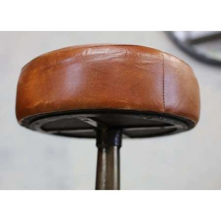 Tan Leather and Iron Bar Stool from Accessories for the Home