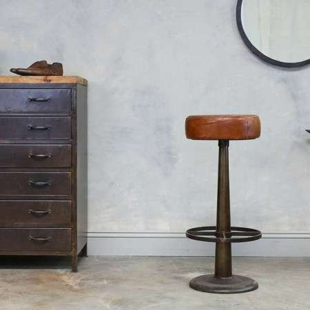 Tanned Leather & Iron Bar Stool