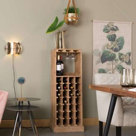 Dutchbone Claude Fir Wood Wine & Glass Cabinet