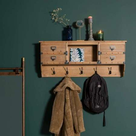 Dutchbone Amador Wood Wall Hanging Coat Rack with Drawers