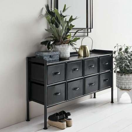 Nordal Bertie 8 Drawer Black Iron Console