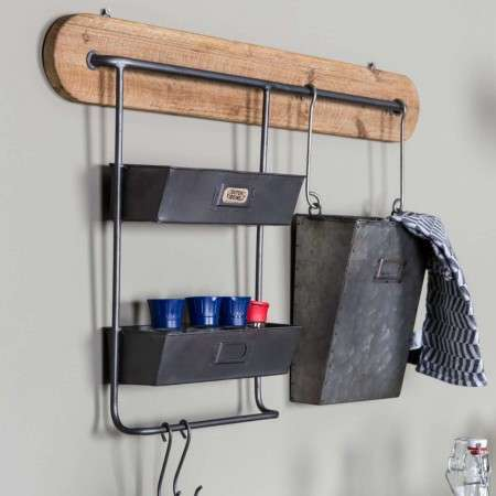 Dutchbone Marley Metal & Wood Industrial Style Wall Rack