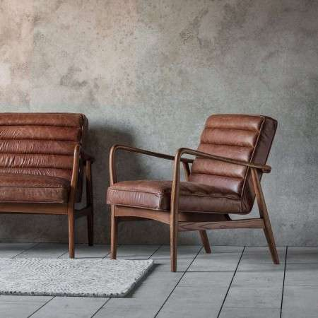 Dayton Vintage Brown Leather Armchair from Accessories for the Home