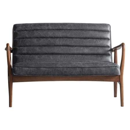 Dayton Ebony Leather 2 Seat Sofa from Accessories for the Home