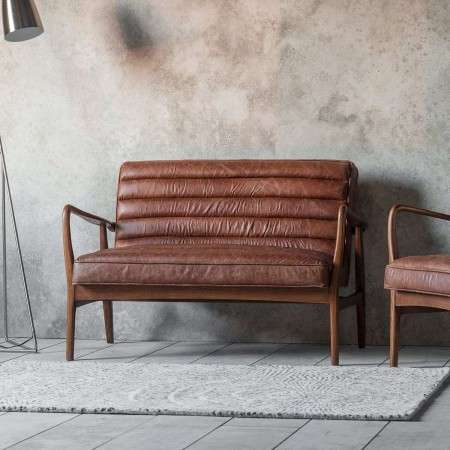 Dayton Vintage Brown Leather 2 Seat Sofa from Accessories for the Home