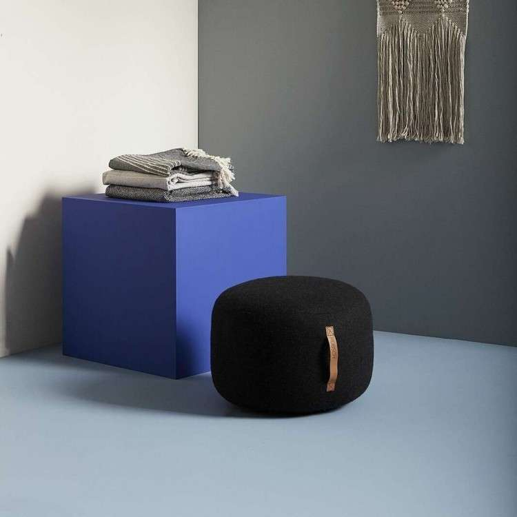 Hubsch Small Charcoal & light Grey Pouffe from Accessories for the Home