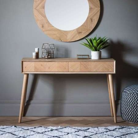 Malmo Chevron Inlay Solid Oak 2 Drawer Console