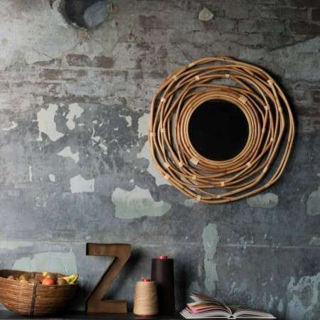 Dutchbone Kubu Circular Woven Rattan Mirror from Accessories for the Home
