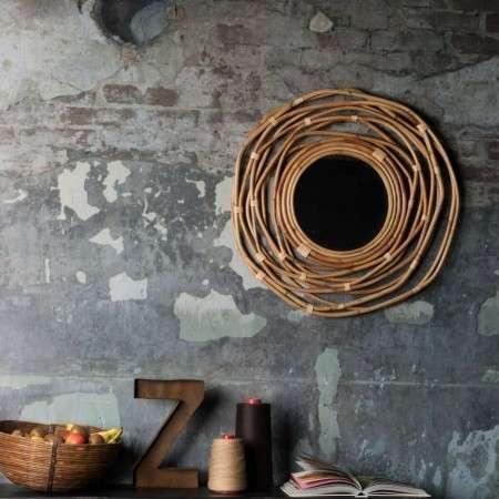 Dutchbone Kubu Woven Rattan Circular Mirror