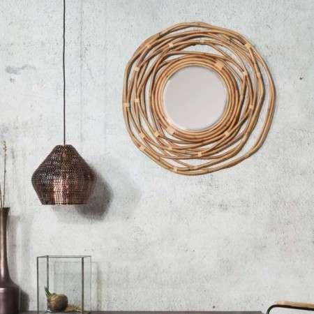 Dutchbone Kubu Circular Woven Rattan Mirror from Accessories for the Home