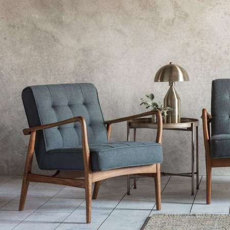 Holt Grey Linen Armchair with Ash Wood Frame
