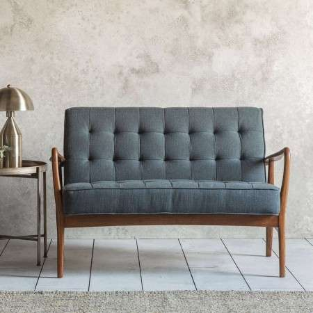 Holt Grey Linen 2 Seat Sofa with Ash Frame