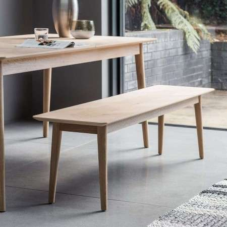 Malmo Chevron Inlay Solid Oak Bench Seating