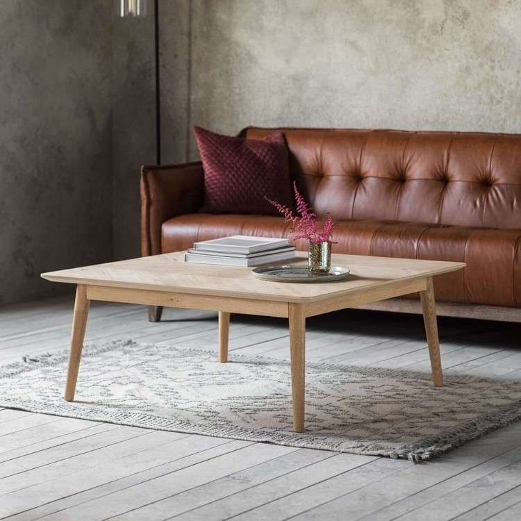 Malmo Chevron Inlay Solid Oak Coffee Table from Accessories for the Home