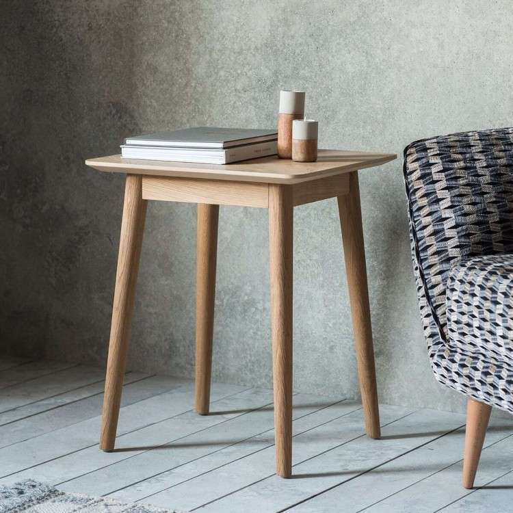 Malmo Chevron Inlay Solid Oak Side Table from Accessories for the Home