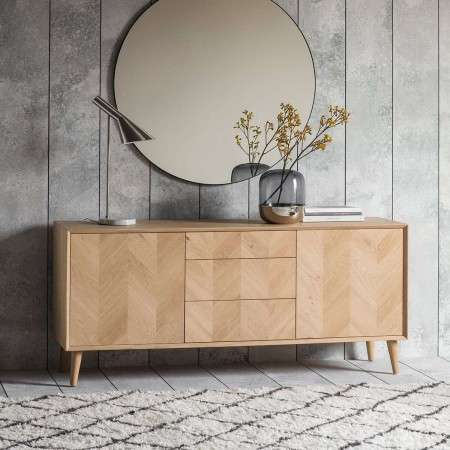 Malmo Chevron Inlay Solid Oak Sideboard