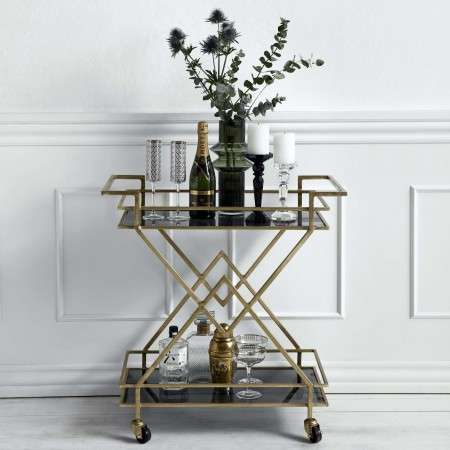 Nordal Art Deco Brass with Black Glass Drinks Trolley
