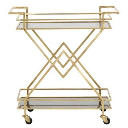Nordal Brass Art Deco Drinks Trolley from Accessories for the Home