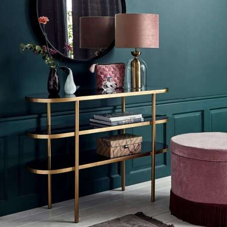Nordal Oval Golden & Black Glass Console Table