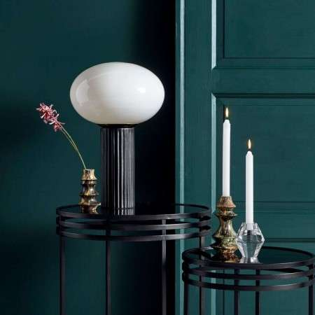 Nordal Opal Glass Table Lamp with Black Ceramic Stand