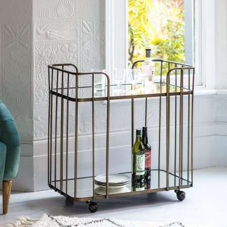 Verena Bronze & Glass Drinks Trolley