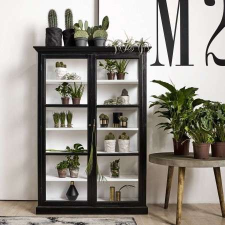 Nordal Classic Black Wood Display Cabinet