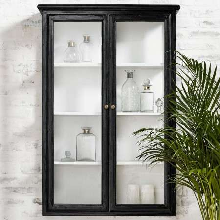 Nordal Classic Black Wood Wall Cabinet