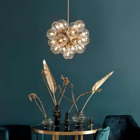 Nordal Atomic Brass and Glass Pendant Light