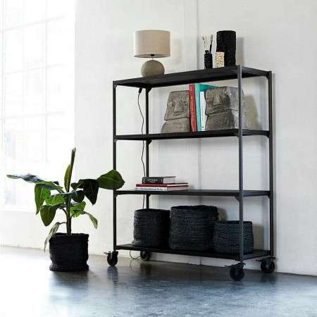 Muubs Black Iron Bookshelf 23 on Castors