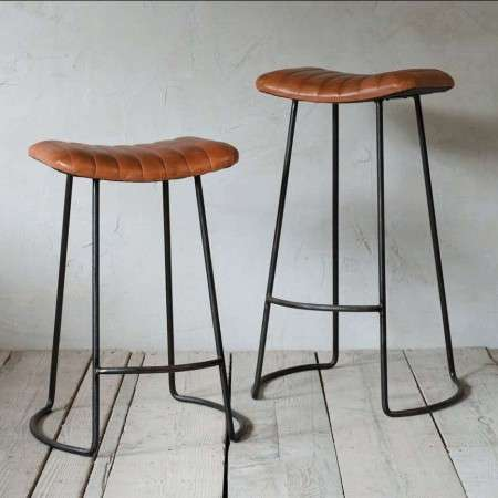 Tan Leather Ribbed Bar Stools with Iron Frame