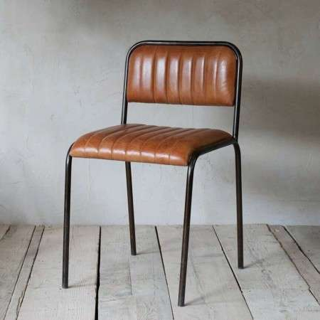 Tan Ribbed leather & Iron Dining Chair