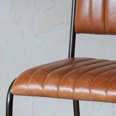 Tan Ribbed Leather Dining Chair from Accessories for the Home