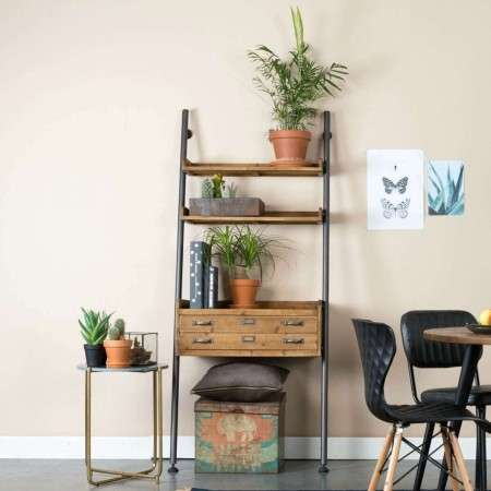 Natural Wood Rook Wall Leaning Shelf